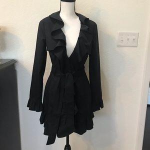Bebe lightweight Black Ruffled Coat